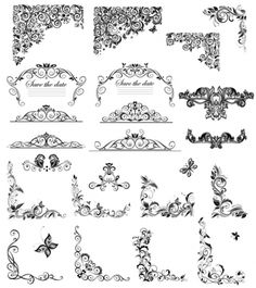 floral ornaments border and corner vector