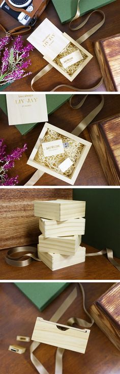 Customize a wooden 8GB USB as well as the adorably handcrafted wooden box that the USB comes in, with an image or any text engraving you may want on it.
