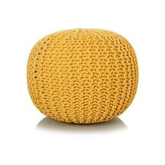 George Home Yellow Knitted Pouffe | Home & Garden | George at ASDA