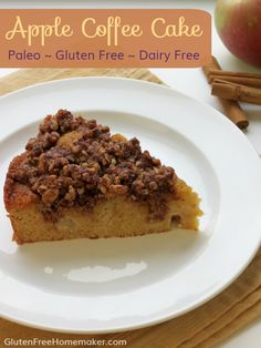 I love this paleo apple coffee cake with the fall flavors of apple, cinnamon, and walnuts. It's moist, lightly sweet, and filling. At GlutenFreeHomemaker.com