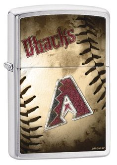 """Zippo MLB Arizona Diamondbacks Brushed Chrome Lighter. Genuine Zippo windproof lighter with distinctive Zippo """"click"""". All metal construction; windproof design works virtually anywhere. Refillable for a lifetime of use; for optimum performance of every Zippo lighter we recommend genuine Zippo premium lighter fluid, flints and wicks. Made in USA; lifetime guarantee that """"it works or we fix it free"""". Fuel: Zippo premium lighter fluid (sold separately)."""