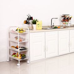 Wire Mesh Rolling Cart White 4-Tier Kitchen Utility Trolley Flexible Mobiles NEW #LANGRIA