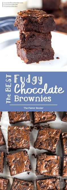 The Best Fudgy Chocolate Brownies - Fudgy brownies made with cocoa powder with chunks of real chocolate! With detailed tips on how to make perfect fudgy cocoa brownies everytime. #ChocolateBrownies #CocoaBrownies #FudgyBrownies #ChewyBrownies via @theflavorbender