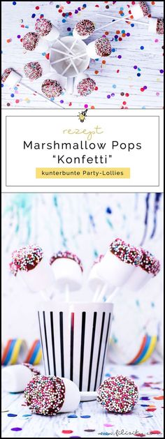 "Schnelles Karnevals-Rezept: Marshmallow-Schoko-Pops ""Konfetti"" - Jennifer W. Marshmallow Pops, Cute Marshmallows, Chocolate Covered Marshmallows, Recipes With Marshmallows, Diy Carnival, Carnival Food, Carnival Recipe, Party Buffet, Karneval Snacks"