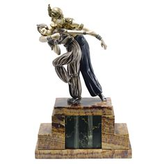 """** Demetre H. Chiparus (Romanian 1886 - 1947), Paris, """"Danseurs Persans"""" Sculpture; Cold-Painted, Parcel-Gilt and Silvered Bronze, Carved and Tinted Ivory, Marble and Onyx Base, 1928."""