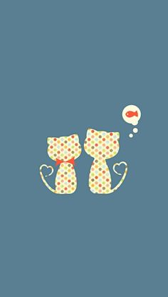 ↑↑TAP AND GET THE FREE APP! Art Creative Cute Minimal Cats Couple Love Fish HD iPhone Wallpaper