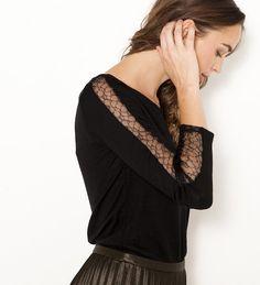 T-shirt manches dentelle femme