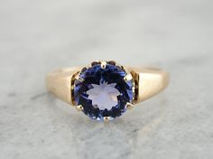Victorian Rose Gold Ladies Ring with Fine Tanzanite Gemstone Center from marketsquarejewelers on Ruby Lane