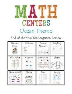 Ocean Theme Math Centers for Kindergarten