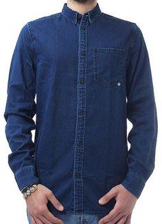 Camicia in Jeans maniche lunghe, Taschino sul petto , colorazione Blu.