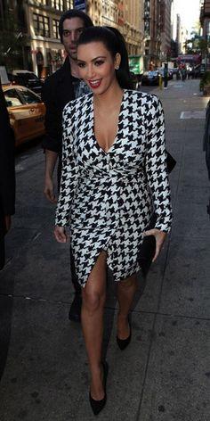 Kim Kardashian in a bold houndstooth dress