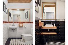 Jednoduchá černobílá variace keramiky v kombinaci s přírodním dřevem na toaletách a v sociálním zázemí je nadčasovou klasikou.