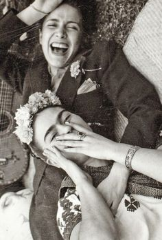 "FridaKahlo and Chavela Vargas ""Nothing is worth more than laughter. It is strength to laugh and to abandon oneself, to be light. Tragedy is the most ridiculous thing."" - Frida Kahlo"