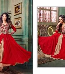 Buy Red georgette embroidered semi stitiched salwar with dupatta party-wear-salwar-kameez online