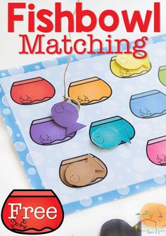 Kids will love fishing for the color matches with this simple color matching fishbowl printable for preschoolers!