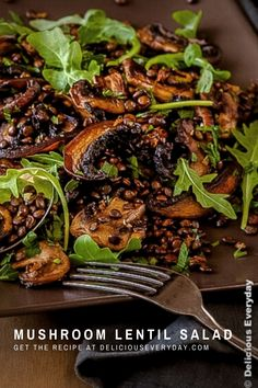 This vegan, gluten-free Mushroom and Lentil Salad is a healthy, light and easy salad that's perfect to bring along to your next BBQ or picnic. #vegan #vegetarian #glutenfree #mushrooms #lentils Lentil Recipes, Mushroom Recipes, Veggie Recipes, Whole Food Recipes, Vegetarian Recipes, Vegan Vegetarian, Healthy Recipes, Healthy Cooking, Healthy Eating