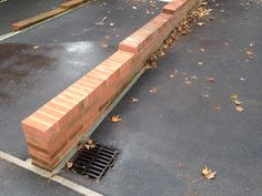 Low brick wall for parking bay Brickwork, Brick Wall, Garden Design, Sidewalk, Building, Masonry Construction, Buildings, Backyard Landscape Design, Landscape Designs