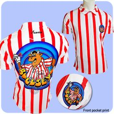 Bullseye Bully Dart Shirt - with Bullseye Logo - Breathable - Small to 5XL - Red and White Stripes - https://www.dartscorner.co.uk/product_info.php?cPath=3_345&products_id=19380