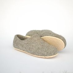 Felted slippers gray with rubber soles  organic wool by Rasae