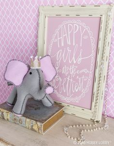 This stylish little elephant is sweet as can be and pink and brown all over. Use our easy-to-read instructions, provided templates, and wide array of mix-and-match fabrics to create your own custom animal!