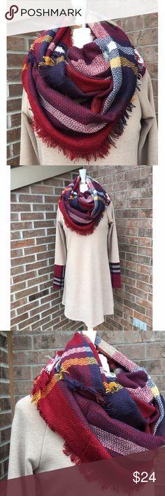 Plaid Infinity Scarf NIP Beautiful infinity scarf by Infinity Raine.  PRICE FIRM unless bundled.                                               ▪️100% Acrylic                                                             🚫PayPal 🚫Trades Infinity Raine Accessories Scarves & Wraps