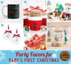 Baby's First Christmas Favor Ideas Both Festive and Cute Christmas Favors, Family Christmas Cards, Babies First Christmas, Christmas Toys, Christmas Birthday, 1st Birthday Party Invitations, First Birthday Parties, Baby Favors, Baby Food Jars