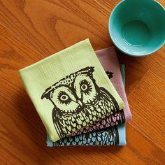 Owl Tea Towel Set of Two Dish Towels Hand Printed
