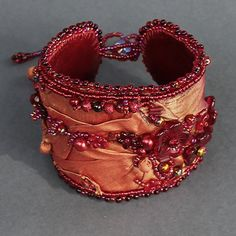 gypsy bracelet, fabric cuff, textile, bracelet, silk, beadwork, beaded, adjustable