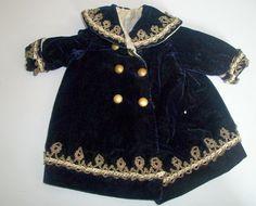 Fabulous Antique Velvet Doll Coat, Metallic Trim