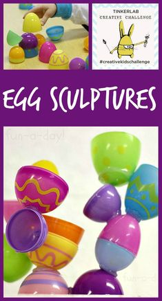 3D process art using plastic Easter eggs!  Lots of creativity with just a few materials. A colorful art project for Easter (or after Easter if you want to use up the leftover plastic eggs).