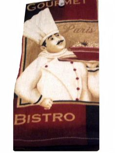 Decorate your fat chef themed kitchen with this set of two kitchen towels that feature a fat French chef with his entree'. $12.95