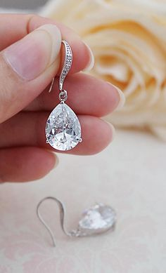 Cubic Zirconia Pear Shape drop Wedding Earrings from EarringsNation Classic Weddings Bridesmaid Gifts