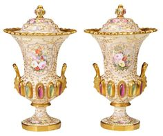Pair of Spode Painted Urns
