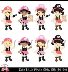 Cute Little Pirate Girls Clip Art Set perfect for all kinds of creative projects!  All designs are digital sales. No items will be shipped!