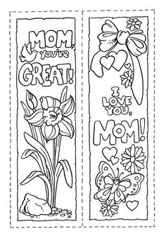 printable bookmarks to color for Mother's Day