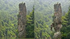 "Fake ""elephant rock sculpture in India"" on the right. Real image on the left (Wulingyaun, China)."