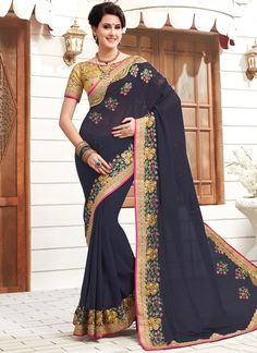 Lovely collection of saree available at best price. Buy this faux georgette navy blue saree.