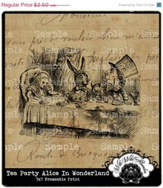 Black Friday Sale Alice in Wonderland Tea Party by withwildabandon, $1.50