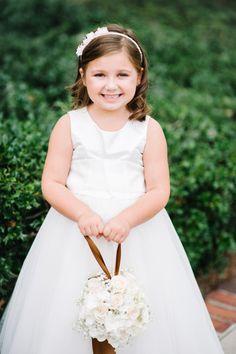 Happy flower girl: http://www.stylemepretty.com/little-black-book-blog/2015/05/20/elegant-summer-wedding-at-cypress-grove-estate-house/ | Photography: Best Photo - http://joshandrachelbest.com/
