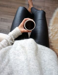 Leather leggings & cozy sweater #coffee #sweat #morning www.vainpursuits.com