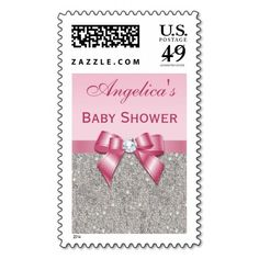 Silver Jewels Pink Bow Diamonds Girl Baby Shower Postage Stamps