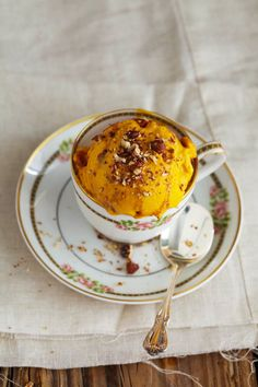 KABOCHA SQUASH ICE-CREAM WITH MAPLE TOASTED PECANS