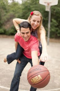 The Wallabies got a little playful on the basketball court for the 3rd location of their engagement session. Photo by Mustard Seed Photography