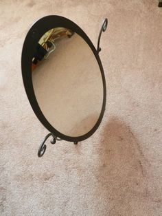 b132e19ed4 Black Wrought Iron Oval Table Mirror - Makeup Mirror - Boudoir Mirror
