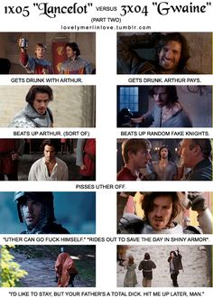 """lancelot vs gwaine [part two]<< Also to """"Uther can go f*** himself""""- everyone does that. like, totally everyone. Merlin Show, Merlin Fandom, Merlin Cast, Lancelot Merlin, Merlin Funny, Merlin Memes, Merlin Quotes, Sherlock Quotes, Prince Arthur"""