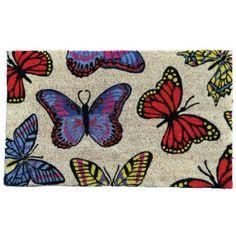 Garden Odyssey Vinyl Backed Butterfly Design Welcome Coir Door Mat Garden Doors, Coir, Welcome Mats, Butterfly Design, Home Deco, Outdoor Gardens, Fiber, Kids Rugs, Outdoor Decor