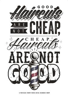 Good cuts - typography and texture. on inspirationde handlettering, barber poster Barbershop Quotes, Barber Quotes, Barbershop Design, Barbershop Ideas, Barber Poster, Barber Logo, Barber Tattoo, Barber Shop Interior, Barber Shop Decor