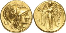 ANCIENT COINS. GREEK. Kingdom of Macedon, Alexander III, The Great (336-323 B.C.), Gold Stater, 8.61g, 8h. Mint of Amphipolis, lifetime issue, struck 336-323 B.C. Head of Athena facing right, wearing a crested Corinthian helmet ornamented with a coiled serpent. Rev AΛEΞANΔPOY, Nike standing facing left, holding a wreath and a stylis, a trident-head on left (Price 172; Müller 105; SNG Berry 142).
