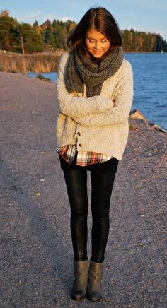 chunky scarf and sweater with a plaid shirt and skinnies with boots - gonna try this!