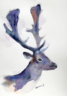 Blue deer original watercolor painting. Reindeer wall art.